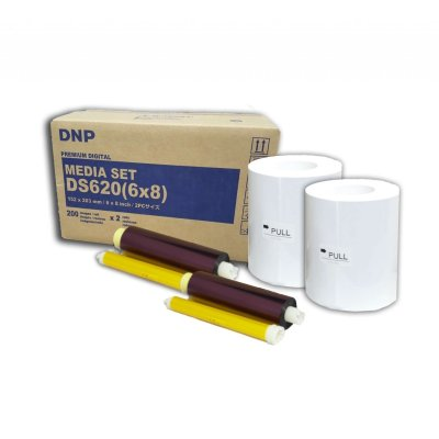"DNP DS620A 6x8"" Dye Sub Printer Media Kit (2 Rolls, 400 Prints)"