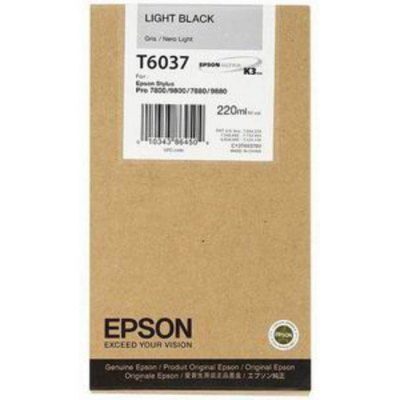 Epson T603700 Light Black UltraChrome K3 Ink Cartridge (220 ml)