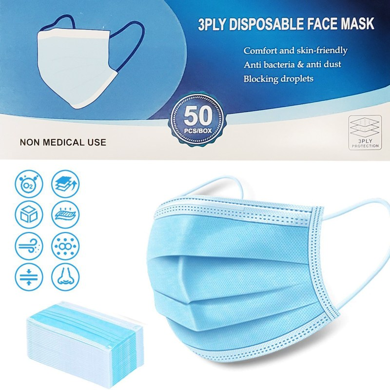 Disposable Face Mask 3 Ply Protection 50pcs
