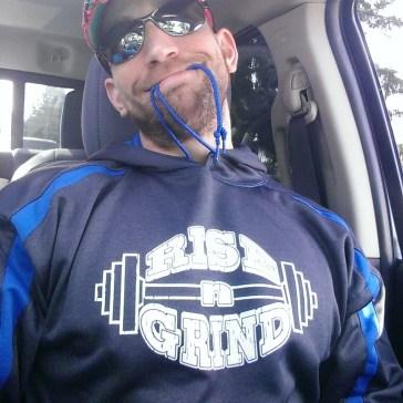 Ryan wearing Rise-n-Grind hoodie