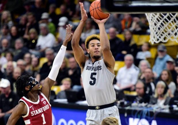 Colorado's D-Shawn Schwartz shoots over Stanford's ...
