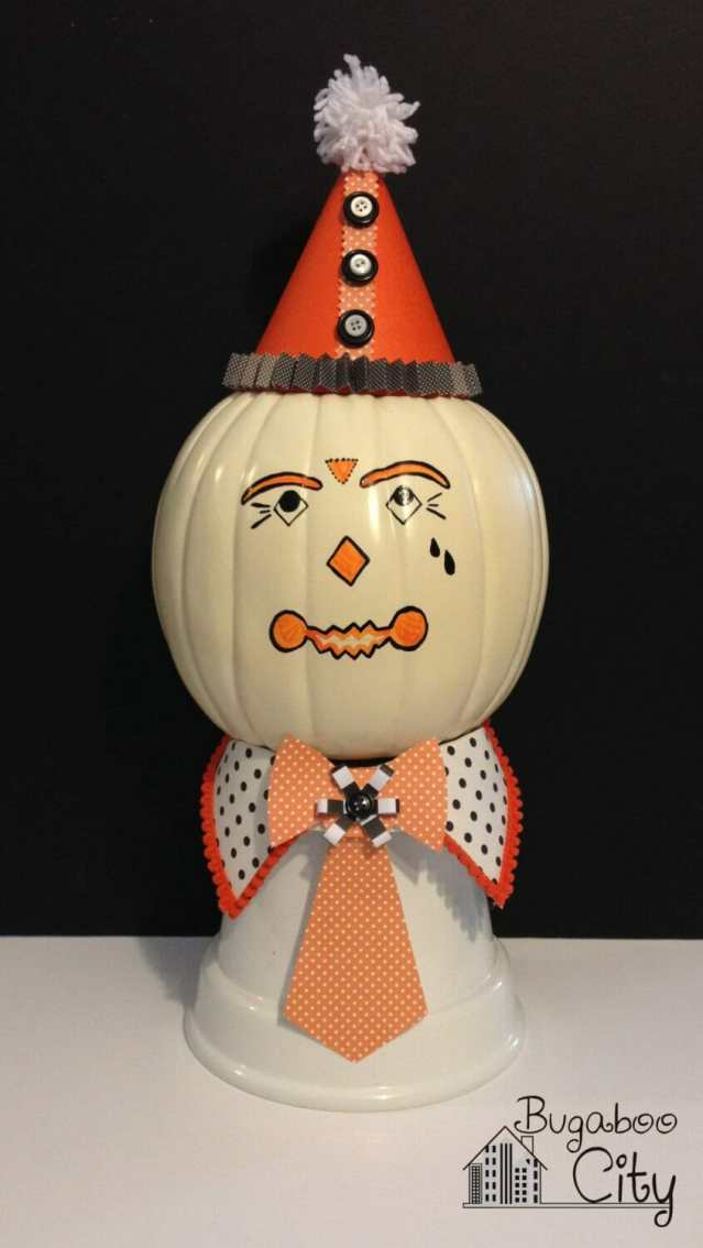 Vintage Clown Pumpkin! DIY project with just paper, paint and glue!
