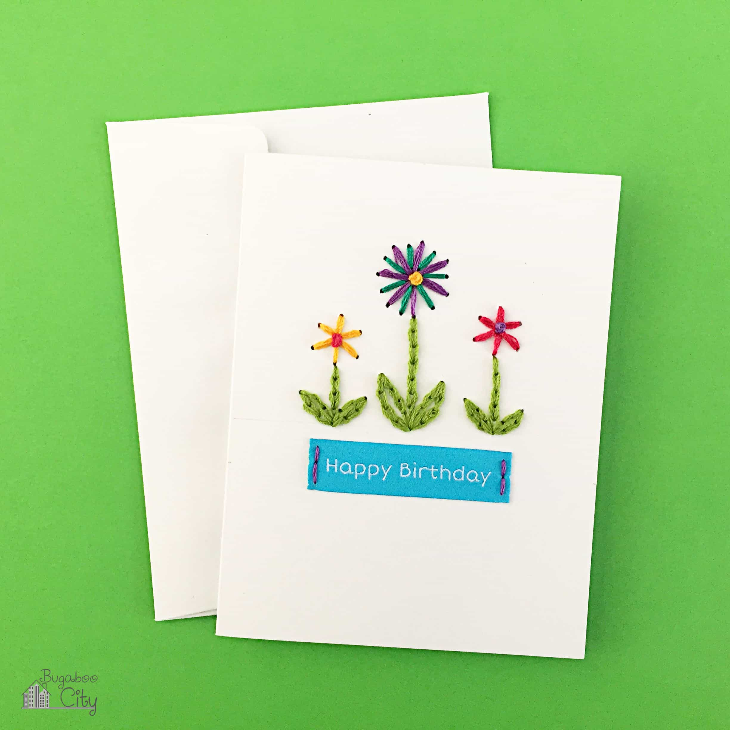 Diy embroidered cards bugaboocity diy embroidered card kristyandbryce Image collections