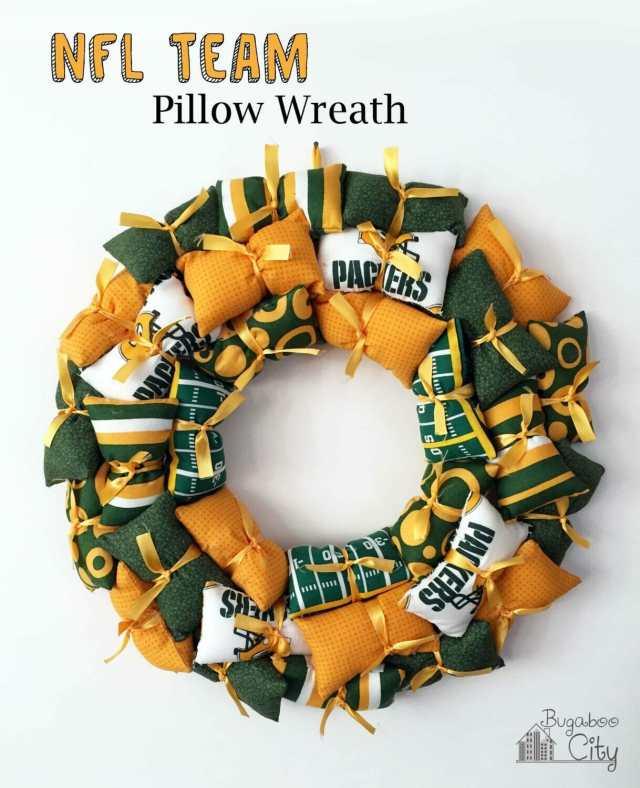 NFL Team Pillow Wreath Tutorial