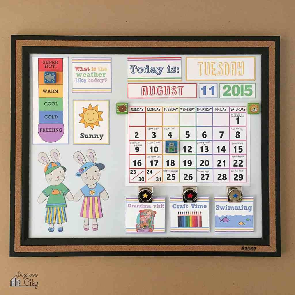 DIY Toddler Calendar Fabric Magnet Holder 3