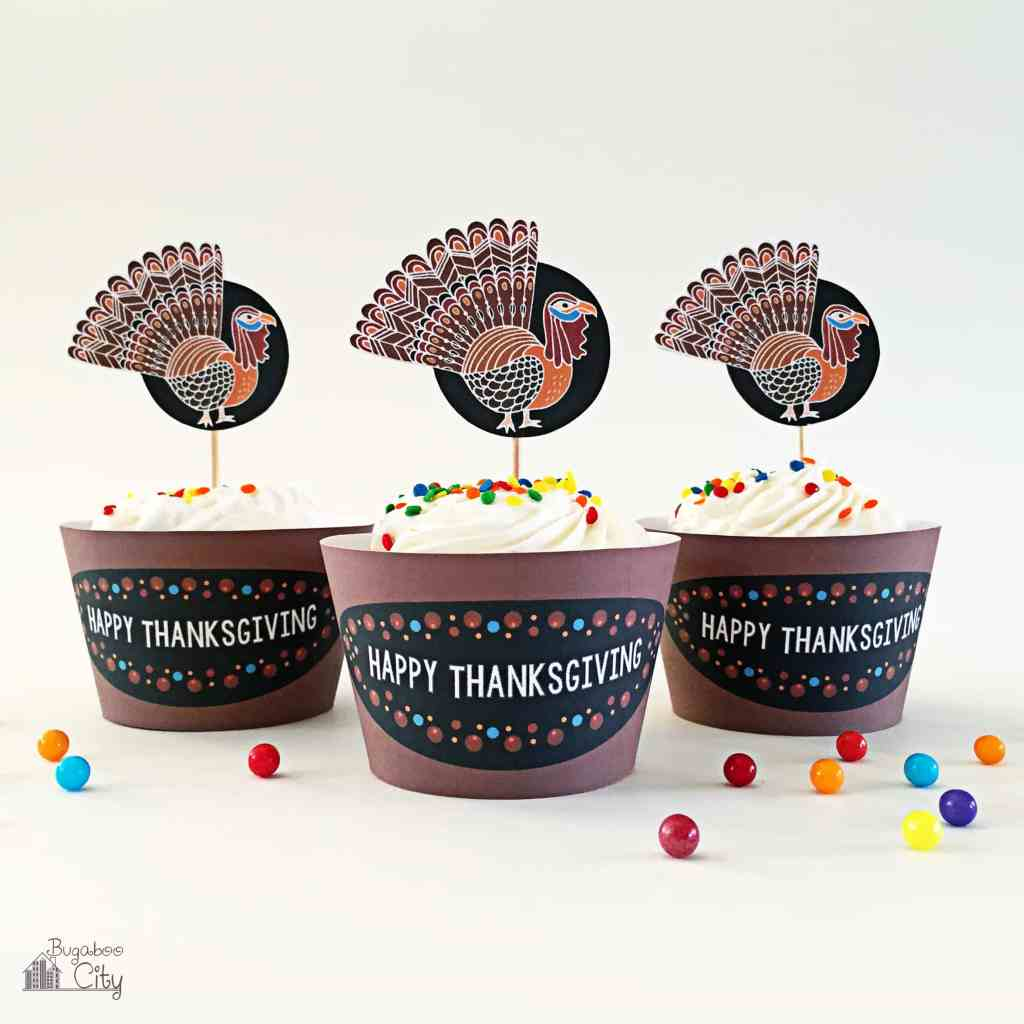 Turkey Cupcake Toppers and Wrappers
