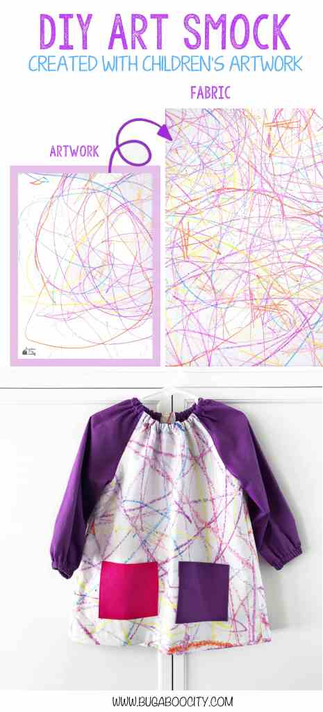 DIY Art Smock created with children's artwork