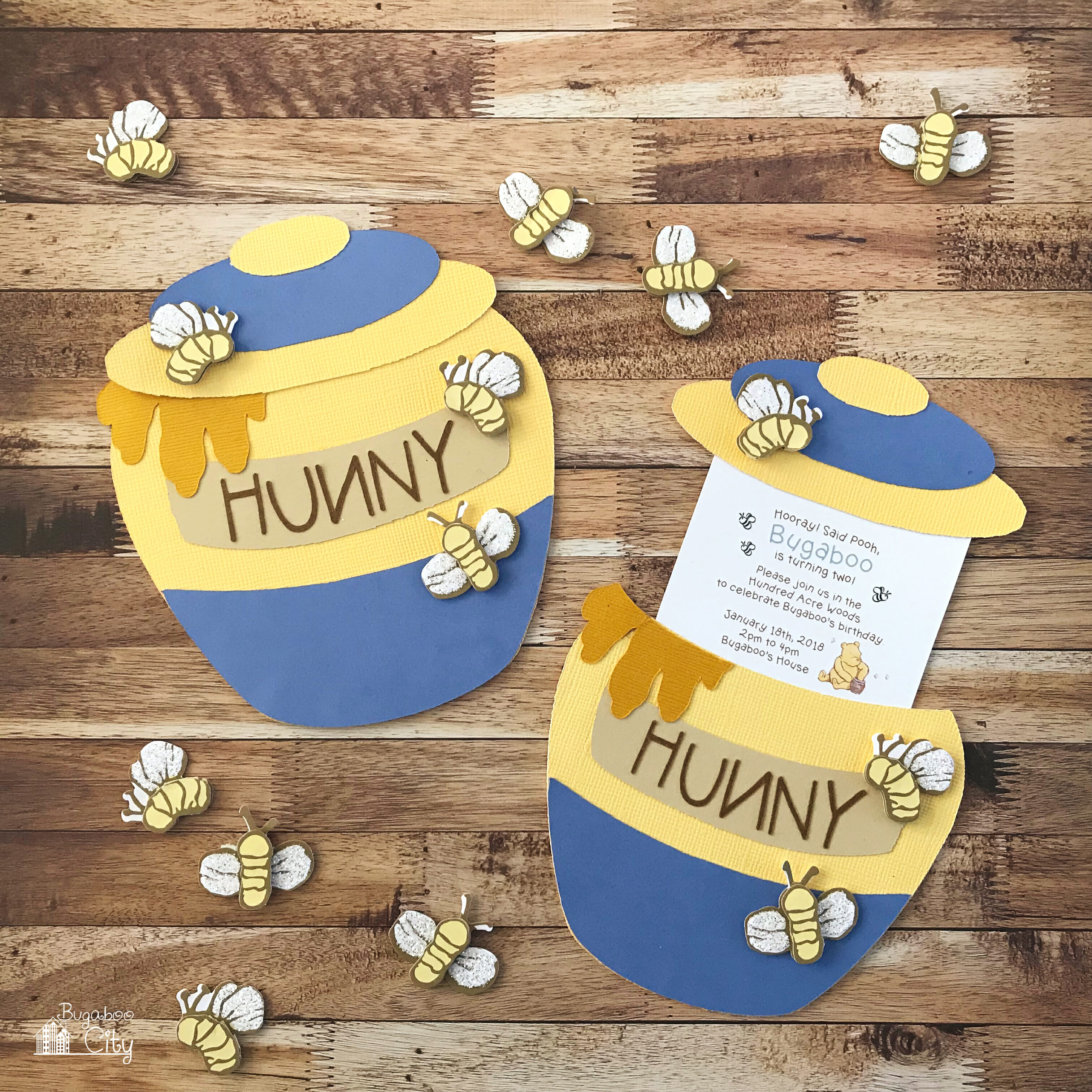 Winnie the Pooh Slider Card and Party Invitation BugabooCity