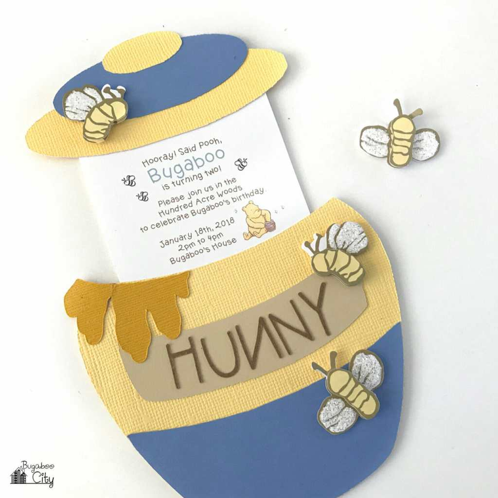 Winnie the pooh slider card and party invitation bugaboocity winnie the pooh honey pot card and party invitation free pattern and cut file bookmarktalkfo Choice Image