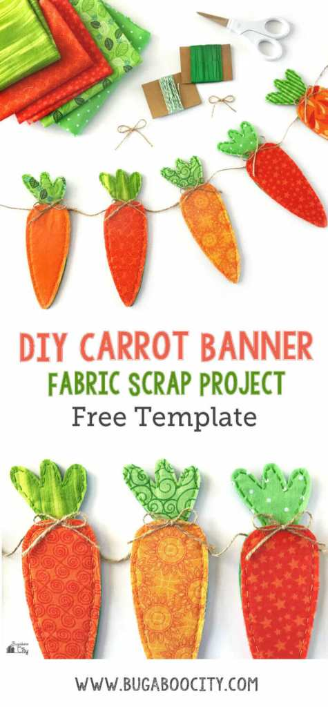DIY Easter Fabric Carrot Banner with Free Template