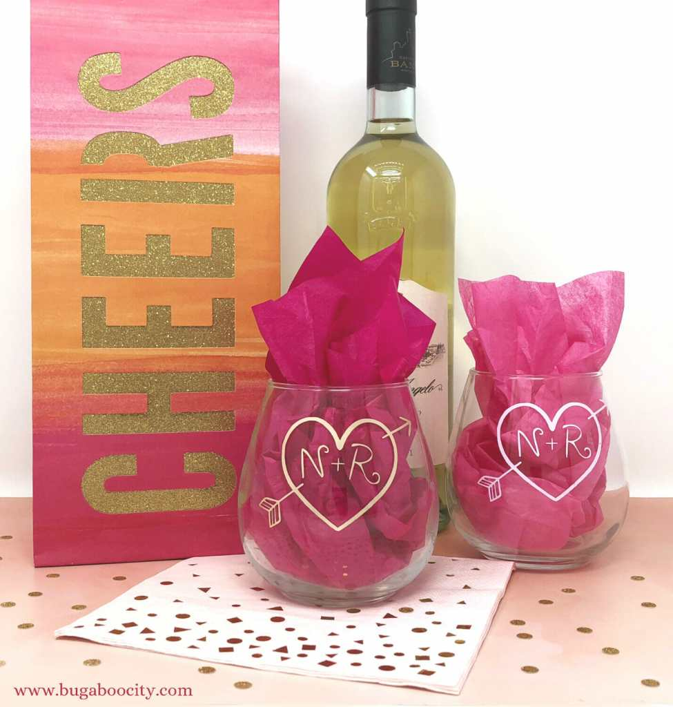 DIY Wedding Shower Wine Glasses with Free SVG Cut File - BugabooCity