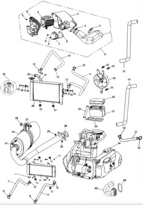 small resolution of hammerhead 250ss super sport air cleaner radiator battery muffler assembly
