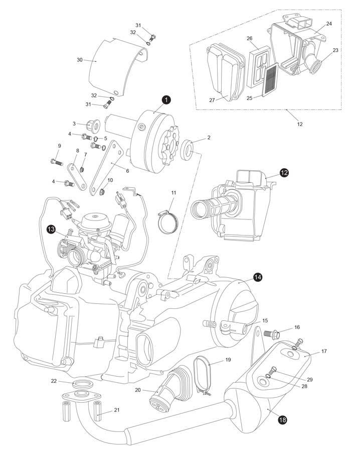 Hammerhead LM150IIR 150 Engine / Muffler / Air Cleaner