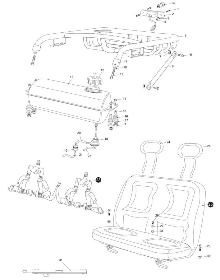 Hammerhead UM250IIR Rear Cargo Rack / Seat / Belt