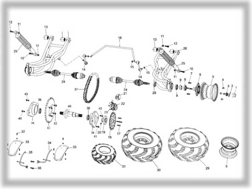 medium resolution of hammerhead 250ss super sport rear suspension assembly