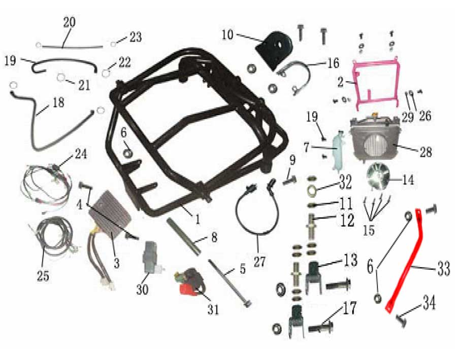 Baja Motorsports Wiring Diagram Dn 250 Baja 50 ATV Parts