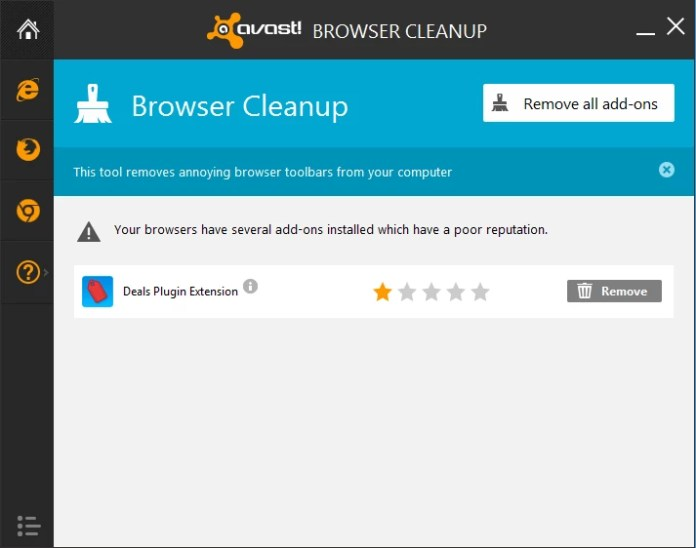 avast browser cleanup main window