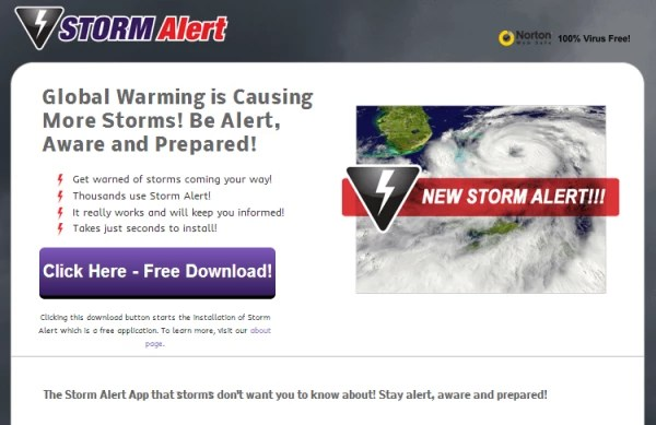 storm alert ads
