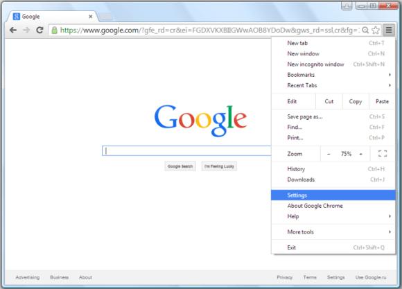 get to google chrome settings