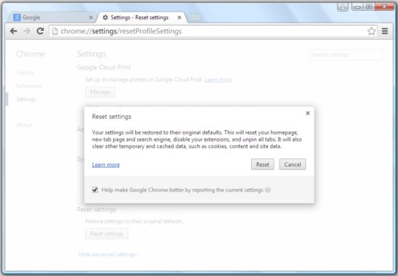 confirm resetting settings