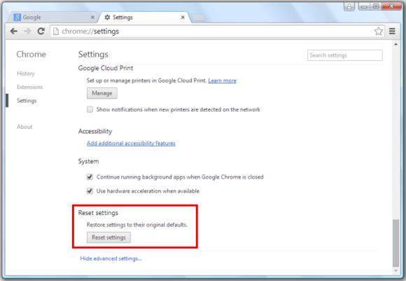 reset settings in google chrome