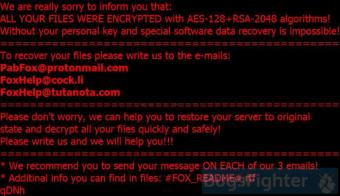 Matrix Ransomware (.FOX files variation)