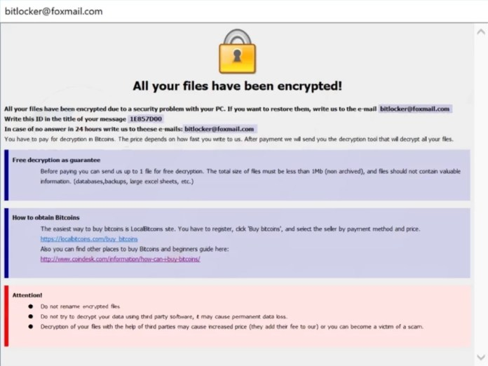 dharma-wiki ransomware, that adds .[bitlocker@foxmail.com]wiki extension