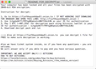 KeRanger Ransomware (ransom note)