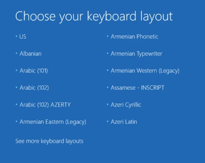 fix windows 10 stuck at choose your keyboard layout screen