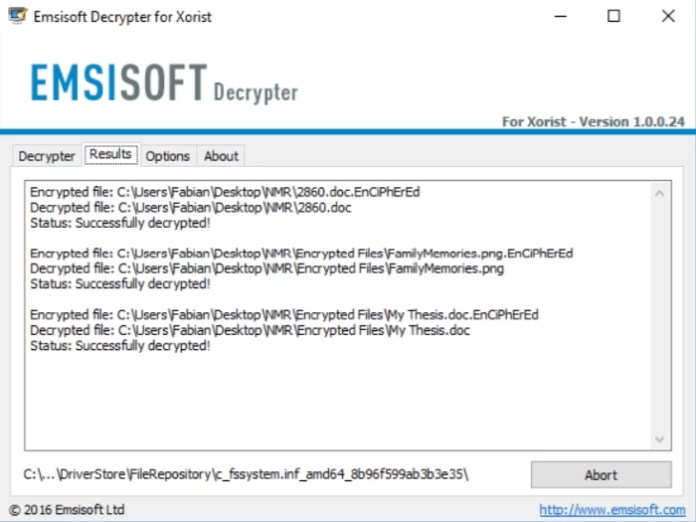 Emsisoft Decryptor for Xorist