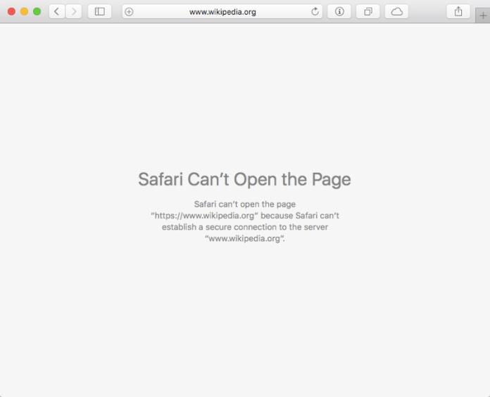 safari ne parvient pas à établir une erreur de connexion sécurisée