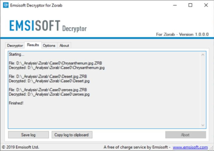 emsisoft decryptor for zorab