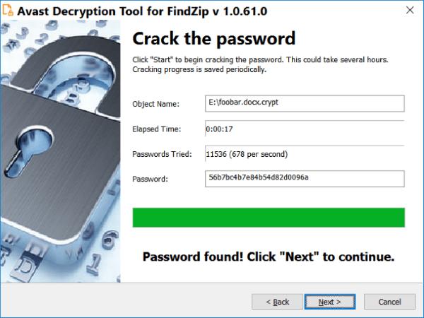 avast decryption tool for findzip