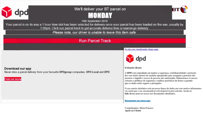 dpd delivery email virus