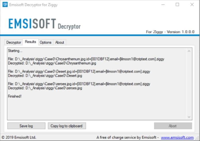 emsisoft decryptor for ziggy