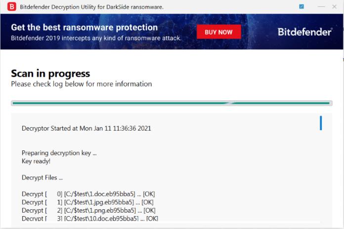 bitdefender darkside ransomware decryptor