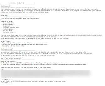 DarkSide ransom note