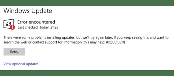 windows update error 0x800f081f