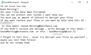 GoodMorning Ransomware (.GoodMorning)