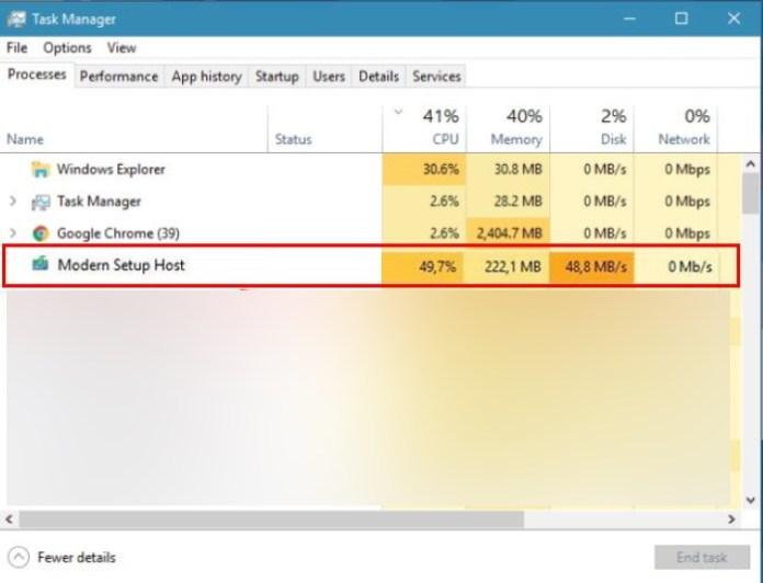 modern setup host (setup.exe) high disk and cpu usage