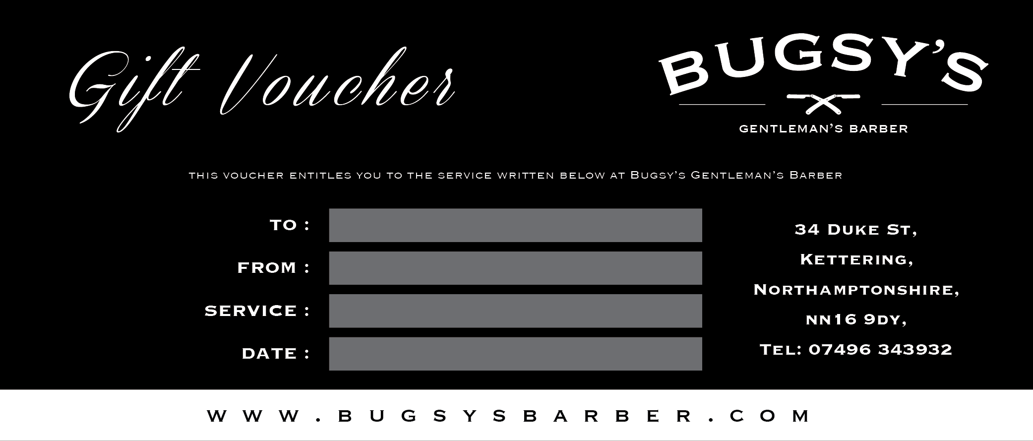 Bugsys Barber Gift Vouchers Mens Haircuts In Kettering