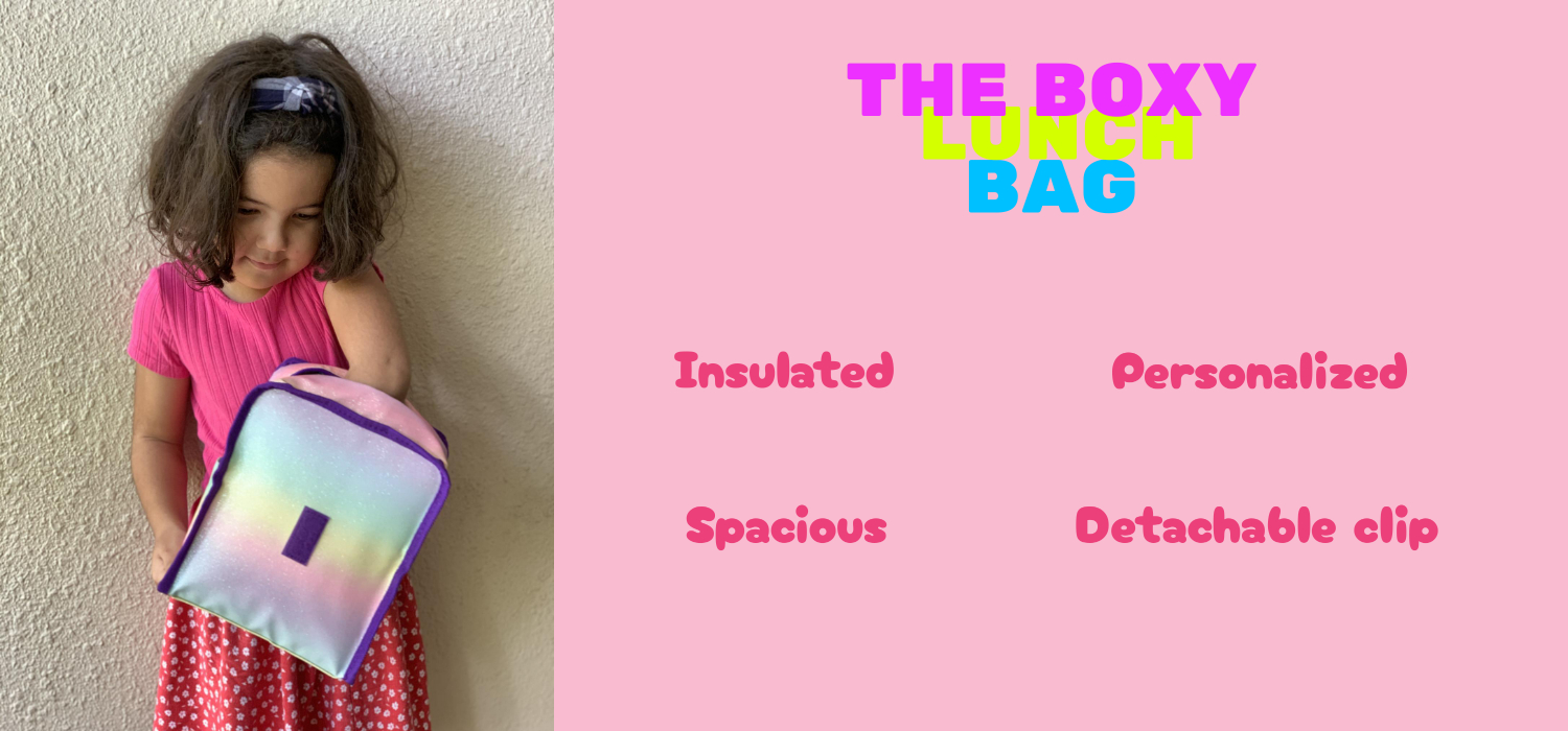 The Boxy Lunch Bag. Insulated, spacious, personalized with detachable clip