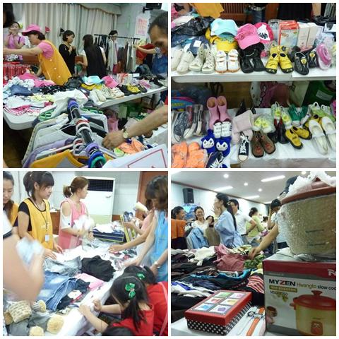 Shoes, toys, clothes and household items on sale