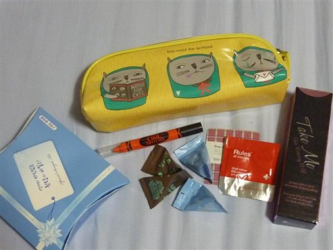 "Cosmetic/Pencil case and samples from ""Too Cool for School"" cosmetic shop; Two pieces Whisper napkins; BB cream"