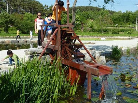 A traditional Korean water wheel