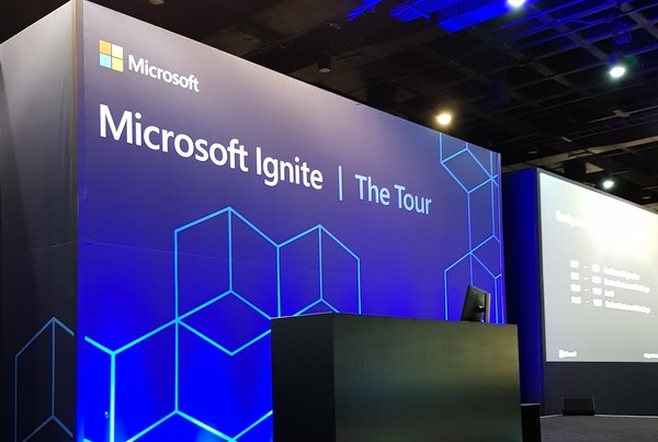 microsoft ignite the tour johannesburg stage area at the sandton convention centre in johannesburg