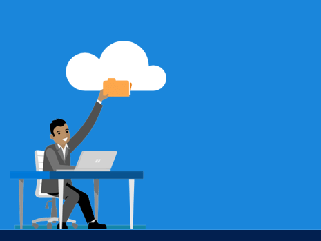 Man sitting at desk, placing folder into cloud, to demonstrate data migration to cloud