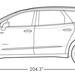 diagram image showing the height and length of the 2019 buick enclave avenir mid size [ 1613 x 681 Pixel ]