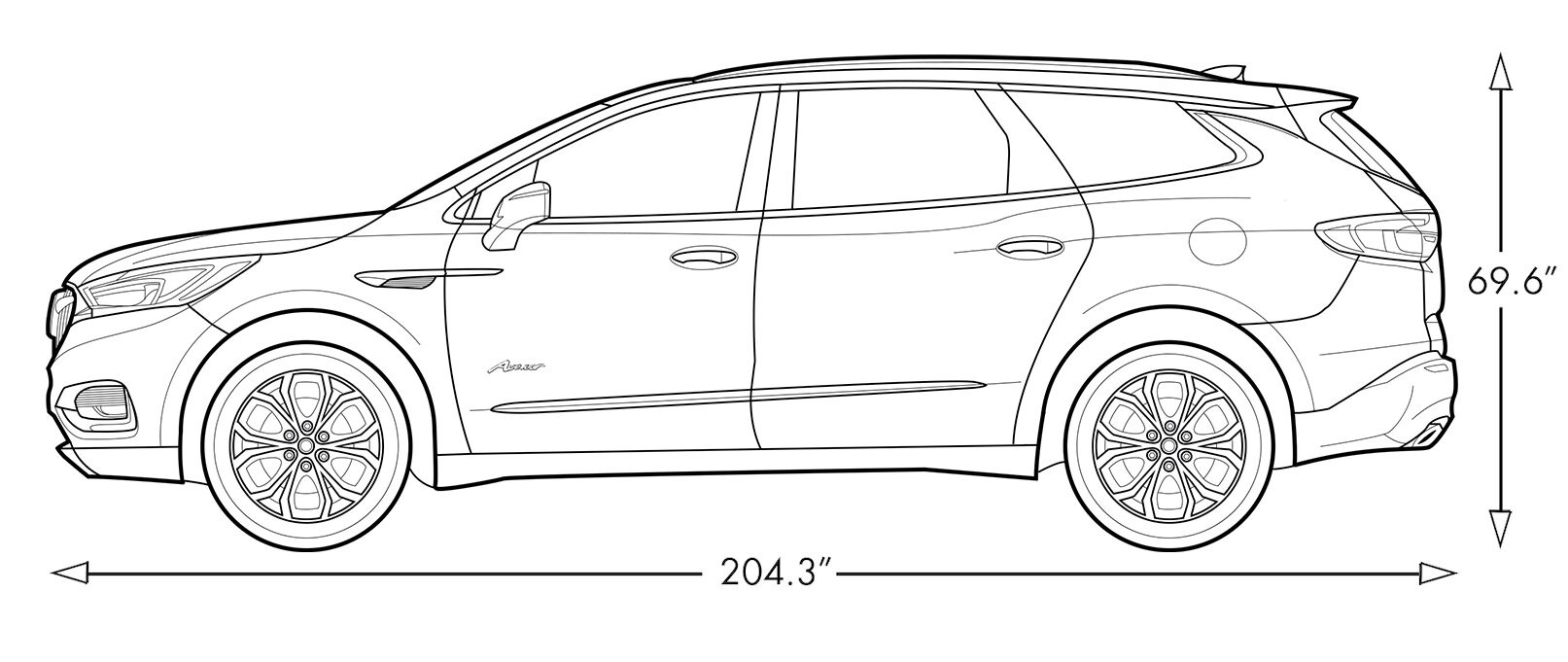 hight resolution of diagram image showing the height and length of the 2019 buick enclave avenir mid size