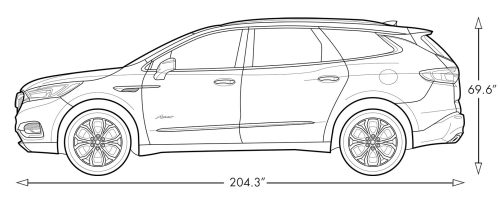 small resolution of diagram image showing the height and length of the 2019 buick enclave avenir mid size